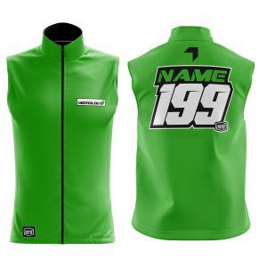 Front & back of green fresh motorsports softshell bodywarmer