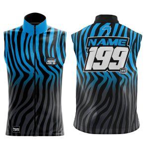 Front & back of primal black & blue motorsports softshell bodywarmer