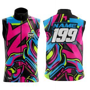 Front & back of graffiti customisable motorsports softshell bodywarmer