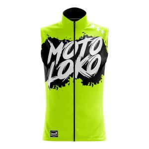 Front of yellow brushed motorsport softshell bodywarmer