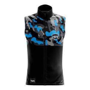 Front of blue Camo motorsports softshell bodywarmer