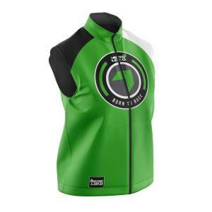 Front of green born 2 race motorsports softshell bodywarmer