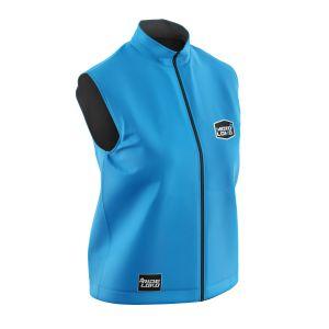 Front of blue customisable motorsports softshell bodywarmer