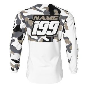 back of sand white camo motorsports jersey with example customisation