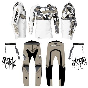 Sand & white came motorsports kit bundle showing jersey pants and gloves