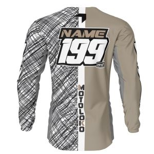 back of sand scribble motorsports jersey with example customisation