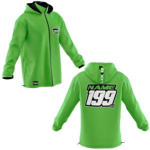Front & back of green coloured motorsports customisable softshell jacket