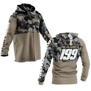 front and back of sand camo motorsports softshell jacket with example customisation