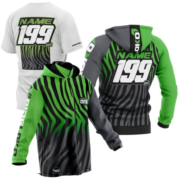 Black and green primal instinct motorsports pit pack including t-shirt, hoodie & softshell jacket