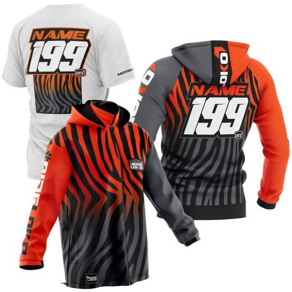 Black and orange primal instinct motorsports pit pack including t-shirt, hoodie & softshell jacket