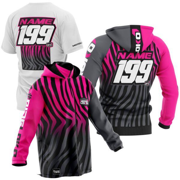 Black and pink primal instinct motorsports pit pack including t-shirt, hoodie & softshell jacket