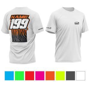 front & back of white motorsports t-shirt with black & orange primal instinct print, showing colour options