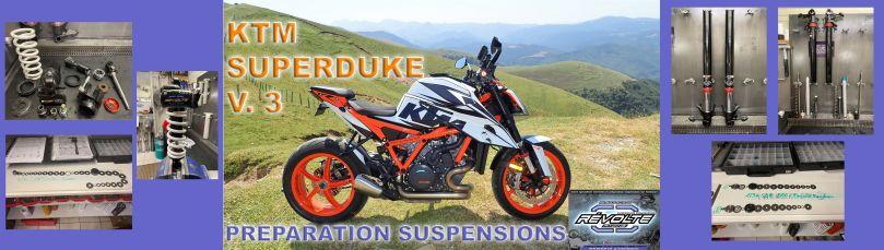 Préparation suspensions KTM Superduke + pièces éclatées