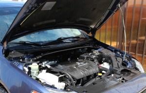 car with an open hood