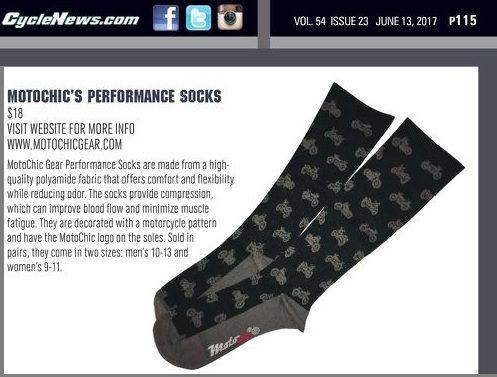 CycleNews.com June 13, 2017 Motochic's Performance Socks