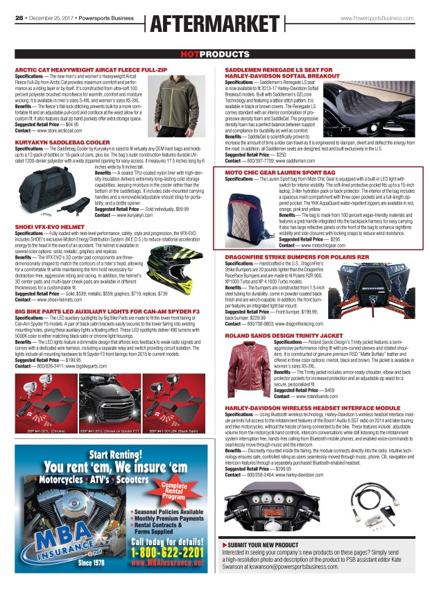 December 25 2017 - Powersports Business - Aftermarket Hot Products