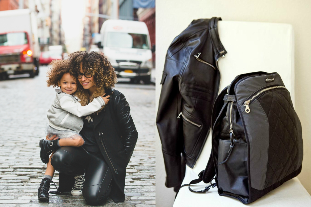 motochic mom lauren black convertible backpack