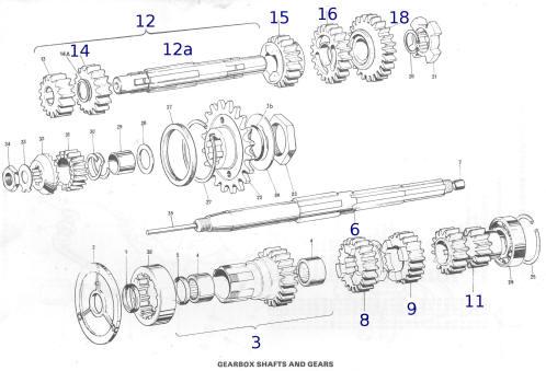 CAMBIO 5M TRIUMPH T140-T150-T160-A75V: INGRANAGGIO 1th/2th
