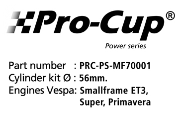 Equipo motor 125cc Aluminio-Nikasil Vespa ET3 Pro-Cup Power S.