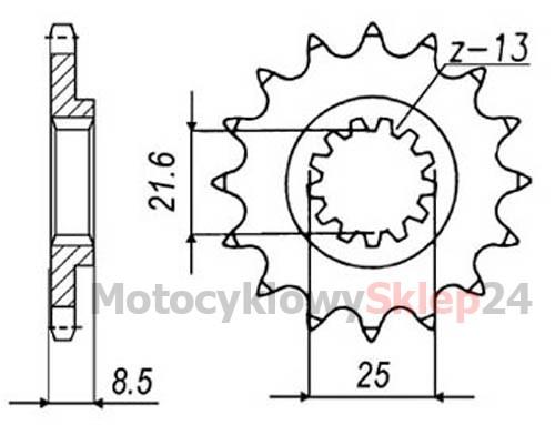 ZĘBATKA PRZEDNIA DO ZX-10R 1000 04-14r. • Sklep Motocyklowy 24