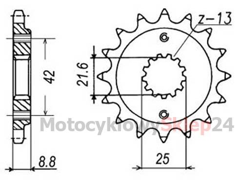ZĘBATKA PRZEDNIA DO GPZ 500 S 87-03r. • Sklep Motocyklowy 24