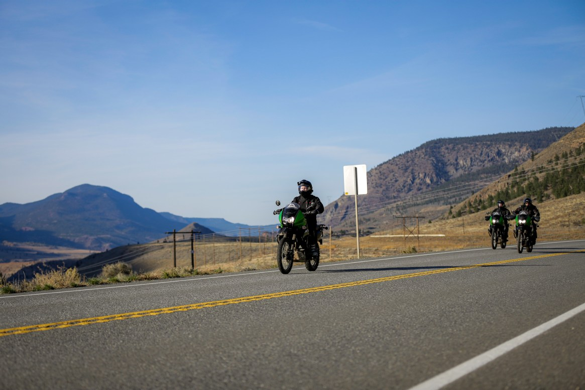 Motorbikes riding out lillooet on the adventure ranch tour
