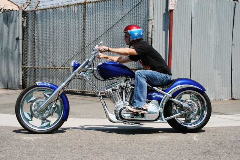 riding a west coast chopper and meeting jesse james. Black Bedroom Furniture Sets. Home Design Ideas