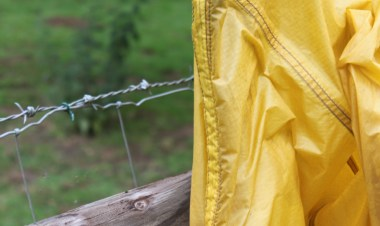 Bad mix, barbed wire and a tent