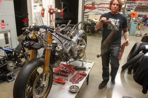 Roland worked on re-building his old TZ250cc into its former state