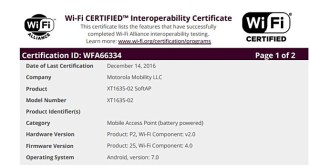 certificado WiFi Moto Z Play