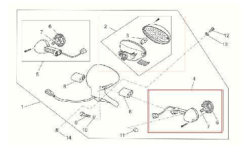 Freccia anteriore dx posteriore sx originale per Moto