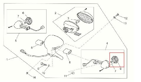 Trasparente freccia ant e post dx-sx per Moto Guzzi V7