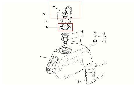 Guarnizione tappo serbatoio per Moto Guzzi V7 Classic, V7 Cafè