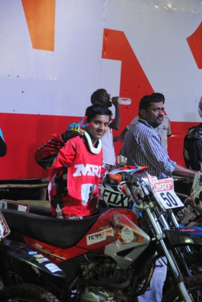 Yash Mohan Pawar at the starting grid - MRF Supercross