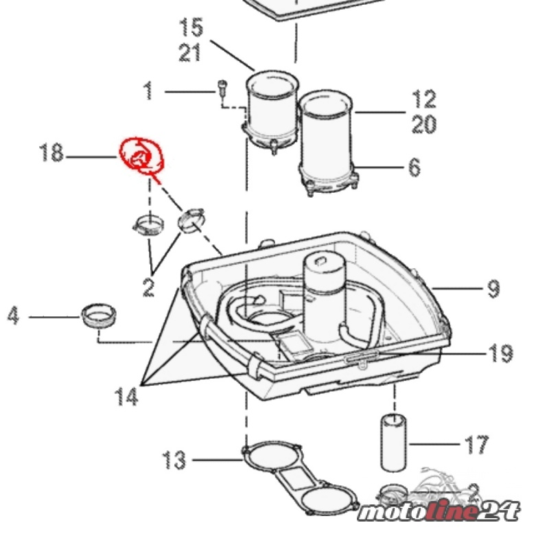 Entlüftungsschlauch hinterer Zylinder Luftfilterkasten