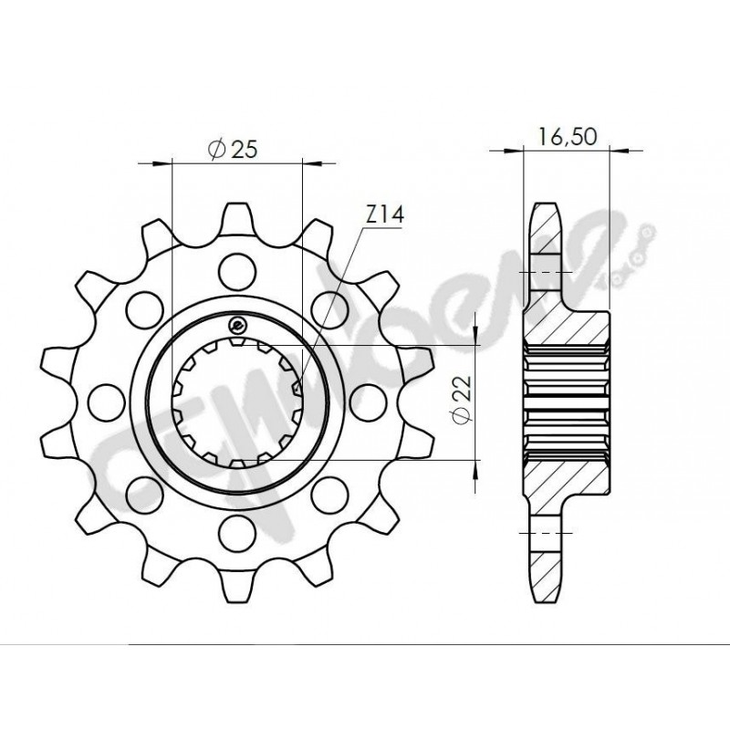 STEEL FRONT SPROCKET FOR CHAIN 520 FOR DUCATI SUPERSPORT