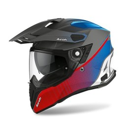Casco Integrale On-Off Moto Touring Airoh COMMANDER Progress Blu Rosso Opaco