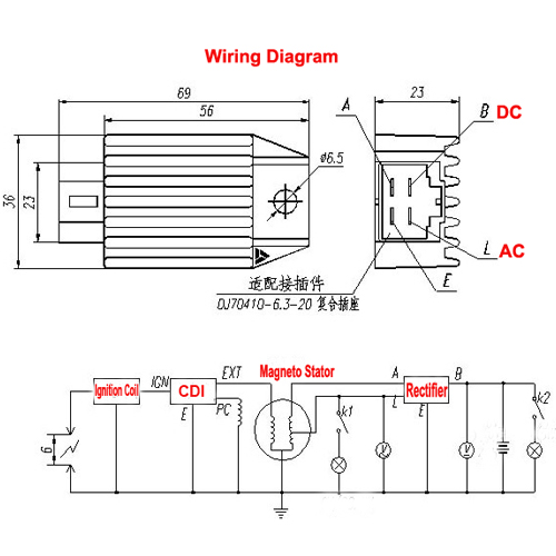 90cc pit bike wiring diagram 65 mustang manual dirt voltage regulator diagrams great installation of 12v 4 pin rectifier for 50cc 70cc 110cc 125cc rh motopartsdealer com ford schematic