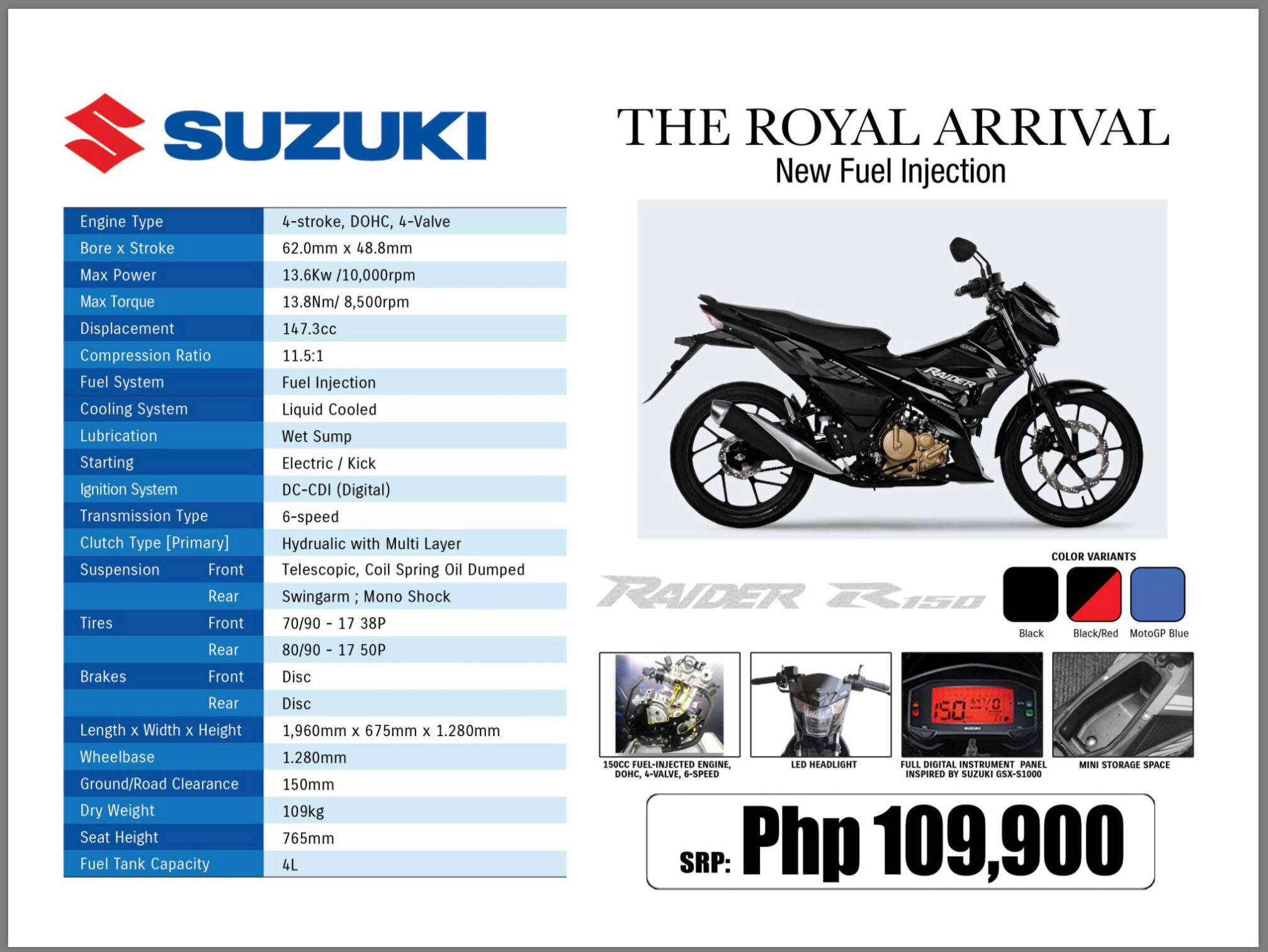 Suzuki Raider R150 fi – Full Specifications and Price – Motoph