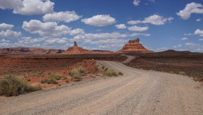 An easy gravel road leads through the Valley of the Gods