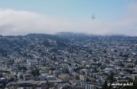 Sutro Tower on Twin Peaks hidden in the Clouds