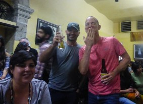 """moto.phil and Martin Werle posing with a drink in """"La Fuente"""" cantina"""
