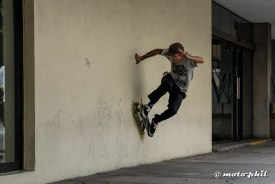 Skater in Guadalajara jumping and skating a wall