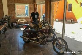Ulli presenting his dirtbike and chopper