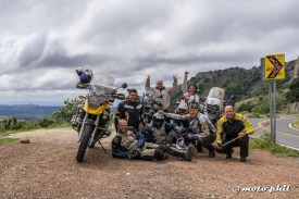 """The group of """"Arrieros Somos"""" riders and moto.phil in Sierra de Lobos"""