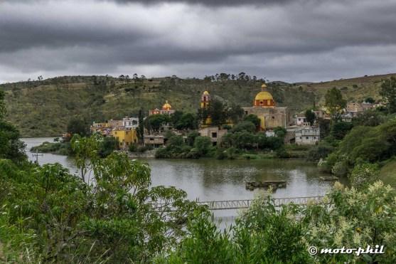 Mexican Village in Cuenca de la Esperanza on a lake