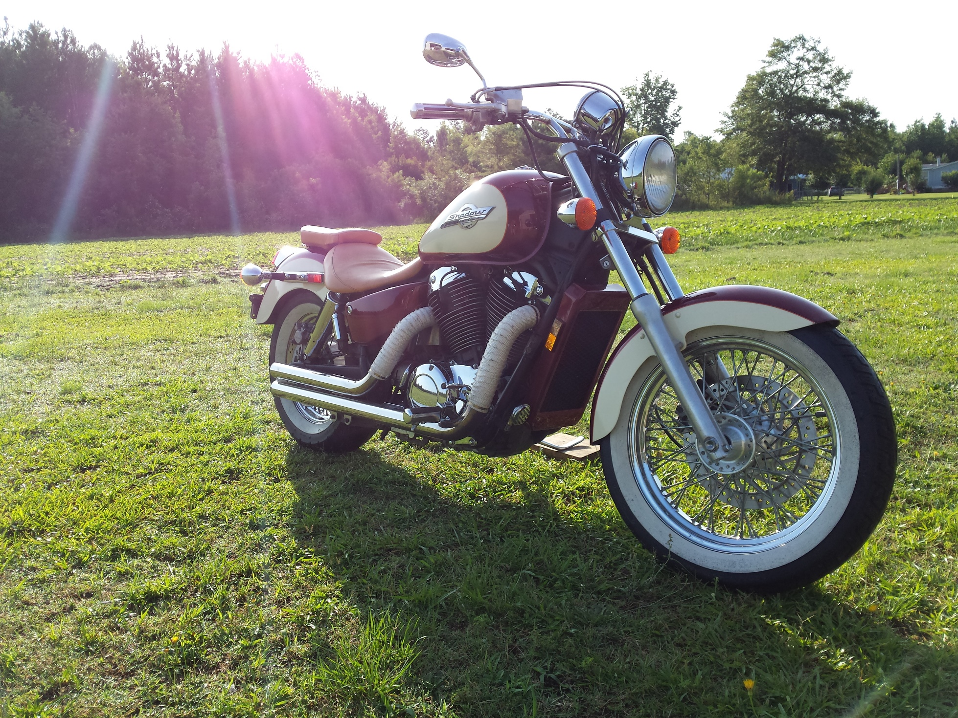 Above is today's patient a 1997 Honda Shadow, a great riding 1100cc v-twin  that while still running very well, needed a little tweaking.