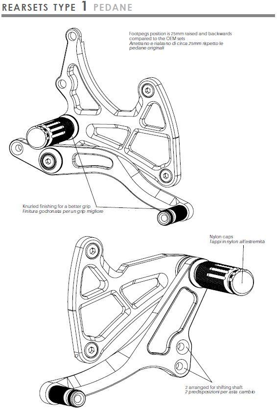 Valtermoto rearsets type 1 Kawasaki ZX9R 98-05