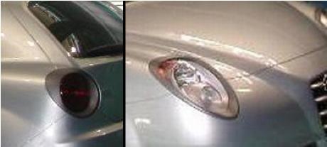 El faro delantero y trasero del Alfa Junior, totalmente descubiertos
