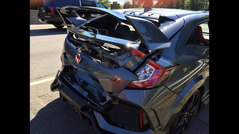 Fotos: Este Honda Civic Type R nuevo sufrió un accidente pocos minutos después de salir del concesionario